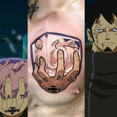 Gamer Tattoos, Cartoon Tattoos, Anime Tattoos, Body Art Tattoos, Cool Tattoos, Tatoos, Ace Tattoo One Piece, Law One Piece, One Piece New World