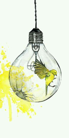 Watercolor Painting Light Bulb Painting Watercolor Print Bird Paint Splatter Light Bulb Art Bird Print Print Titled Shattering Either I Will Find A Way Or I Will Make One Art Painting, Light Painting, Drawings, Amazing Art, Light Bulb Art, Watercolor Paintings, Painting, Bird Prints, Cool Drawings