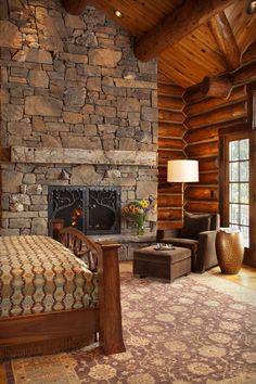 bedroom with fireplace Phillips Ridge Tour 5   Luxury Vacation Rentals, Property Management   Jackson Hole, Wyoming