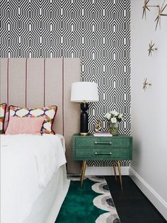 Black And White Patterned Wallpaper Is A Lovely Backdrop For The Blocks Of  Brighter Colours In This Bedroom