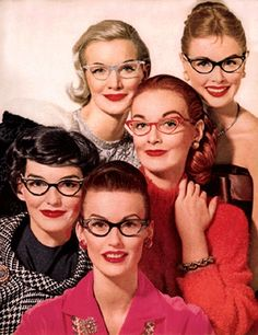 Models wearing spectacles, 1950s.