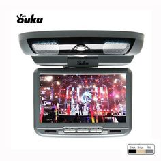 """Ouku -Grey Gray 9-Inch Flip Down Roof Mount Monitor and DVD Player with Wirel. ①9'' 16:9 Wide Screen TFT-LCD Monitor - Overhead Console with Twin Dome Lights w/ LED - Front Push Buttons Controls - Power Requirement: 12 DC. ②High Resolution: 640 x 234 Pixels - IR transmitter Ready for Wireless Headphone - Audio/ Video Inputs - DIN Cable w/ RCA Jacks for A/V Connections. ③Brightness: 450 Cd/ Sq.M - Built-In FM Modulator - USB SD Card Inputs - Dimensions: 8.46"""" (W) x 2.17"""" (D) x 9.45"""" (H)...."""