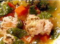 Italian Wedding Soup. One of the best soups I've ever made. The whole family loved it. Try making your own chicken broth Ina style to guarantee maximum flavor. It is worth the work. Definite Keeper!!!! ***** per me!