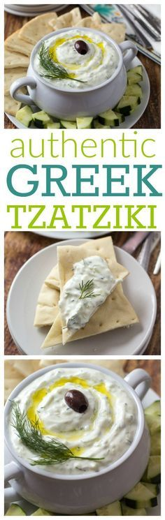 (GREECE) She learned while visiting Athens - best way to make REAL authentic Greek tzatziki! Make ahead of time/ just keeps getting tastier - Saving this one! Vegetarian Recipes, Cooking Recipes, Healthy Recipes, Greek Food Recipes, Free Recipes, Cooking Tips, Easy Recipes, Comida Tex Mex, Fingers Food