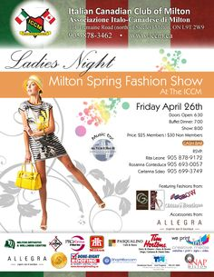 Fashion show Italian Canadian Club of Milton on Friday April for tickets Allegra Organic Spa & Boutique will be accessorizing some Spring Fashions from local vendors--support shopping in Milton and come out for a fun night ! Spring Fashion, Fashion Show, Ladies Night, Club, Spa, Friday, Community, Organic, Shopping