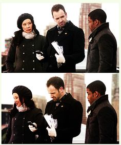 Sherlock Holmes, Joan Watson, and Detective Marcus Bell from Episode 1.17