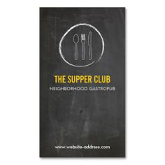 FORK SPOON KNIFE CHALKBOARD LOGO 2 for Restaurant Business Card Templates. Make your own business card with this great design. All you need is to add your info to this template. Click the image to try it out!