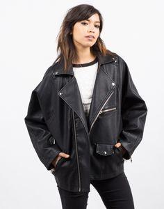 Oversized Leather Jacket - Black Jacket - Faux Leather Jacket – Outerwear – 2020AVE