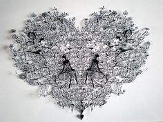 """Born in Yokohama and now based in France, artist Hina Aoyama masterfully cuts details into sheets of paper to create these super fine, lacy, and fragile artworks. Her work conveys such things as the delicacy of small butterfly wings, the fine script of a handwritten letter, and the details of a lotus flower. Using just a simple pair of scissors, Aoyama says her passion is """"to create a finest cutoff beyond the level of the very time-consuming needle lace making."""""""