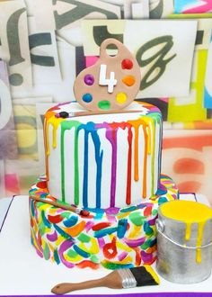 Looking for Paint Party Ideas? Check out these 23 Creative Art Themed Party Ideas for your little artist's birthday party. Get creative ideas for party supplies, decorations, cakes, party favors, and more. Kids Art Party, Craft Party, Painting Party For Kids, Kids Party Themes, Art Party Cakes, Cake Art, Art Party Decorations, Art Cakes, Art Party Favors