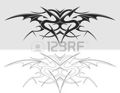 Dragon tattoo silhouette. Vector illustration.