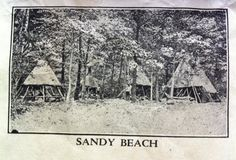 """A circa 1930 image of the """"Veteran's Camp"""" or """"Pioneer Camp"""" at Camp Sandy Beach; posted by Mike Hogan.  #Yawgoog Scout Reservation, Rockville, Hopkinton, Rhode Island (RI)."""