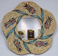 Mosaic art ~ Turkish handicrafts and hobbies - El Sanatları Fikirler - Mosaic Artwork, Mosaic Wall Art, Mirror Mosaic, Mosaic Diy, Mosaic Crafts, Mosaic Projects, Mosaic Glass, Mosaic Tiles, Glass Art