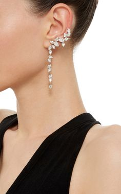 Rhodium Plated Swarovski Crystal Drop Ear Cuff With Stud  by RYAN STORER for Preorder on Moda Operandi
