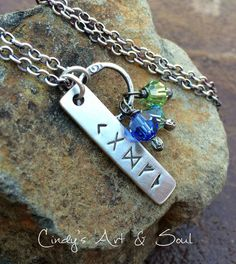Personalized Charm Necklace with Ring and Crystals