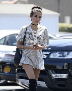 can't get enough of Madison Beer in this lace up tunic