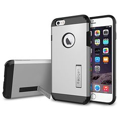 awesome iPhone 6 Plus Case, Spigen® [KICK-STAND] iPhone 6 Plus (5.5) Case Protective [Tough Armor] [Satin Silver] Dual Layer EXTREME Protection Cover Heavy Duty Kick-Stand Feature Case for iPhone 6 Plus (5.5) (2014) – Satin Silver (SGP10917)