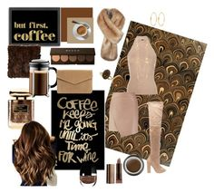 """Coffee coffee coffee"" by tanya-moody on Polyvore featuring beauty, Americanflat, Isabella Collection, Oliver Gal Artist Co., Rosetta Getty, Steve Madden, By Terry, Giorgio Armani, Becca and Bodum"