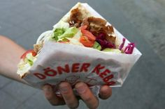 """Our favorite """"fast food"""" while in Germany was a Turkish-German treat, the Doner Kebab. There is nothing in America that truly is like it, y. Shawarma, Doner Kebabs, My Favorite Food, Favorite Recipes, Favorite Things, Turkish Recipes, Ethnic Recipes, National Dish, International Recipes"""