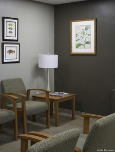Sherwin-Williams Downing Stone 2821 and Enduring Bronze 7055. read A Quick Fix Waiting Room