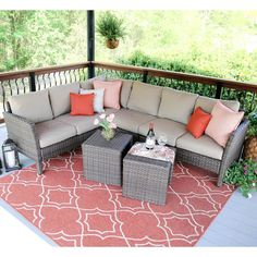 Leisure Made Blakely Aluminum 5 Piece Corner Sectional