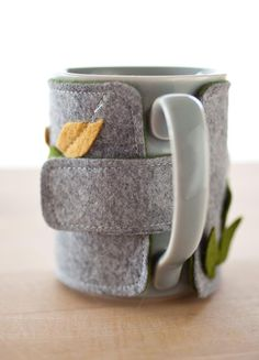 Coffee mug cozy AND mug leaves by FabulousFabulous on Etsy