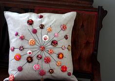 The Lollipops Pillow - covered button fun - pattern, 'Quilts from the House of Tula Pink' - a fun new book with great projects.