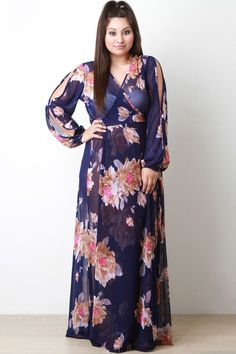 b11787242 Semi-Sheer Floral Wrap Maxi Dress