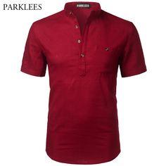 8bc01cf7bc5 Short Sleeve Linen Shirt Men 2017 Brand New Red Mens Shirts Casual Slim Fit  Pocket Chemise Homme Social Men Clothing Camisas XXL