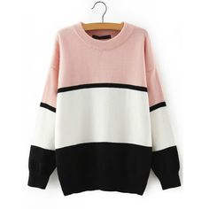 Women Crew Neck Color-block Striped Sweater ($25) ❤ liked on Polyvore featuring tops, sweaters, multicolor, colorful sweaters, loose sweater, striped sweater, long sleeve sweaters and multi color striped sweater
