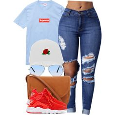 A fashion look from August 2016 featuring champion shirt, blue jeans and red shoes. Browse and shop related looks. Cute Swag Outfits, Dope Outfits, Trendy Outfits, Summer Outfits, Girl Outfits, Fashion Outfits, Fashion Styles, Grunge Outfits, Teenage Outfits
