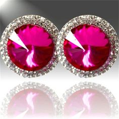 Sassy Sam's - Products - Hays,  Round Fuschia Earrings $9.99