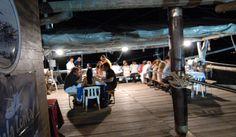 dinner on the characteristic fishing machine (trabocco) - Abruzzo coast
