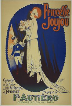"""¤ """"Princesse Joujou"""" Opérette 1923 Sheet music cover illustrated by Clerice Freres."""
