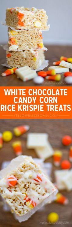 White Chocolate & Candy Corn Rice Krispie Treats Recipe - Perfect Fall or Halloween Treat!