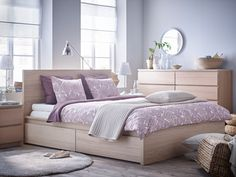 MALM High bed frame/2 storage boxes, white stained oak veneer, Luröy Full size