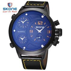 >> Click to Buy << SKONE 2017 Men Big Round Face 3 Time Zone Analog Quartz PU Leather Watches Men Fashion Casual Sports Army Military Wrist Watch #Affiliate