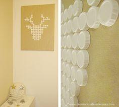 Ciervo blanco DIY con tapones de plástico reciclados | Decoración de Interiores • DIY Deer head with recycled plastic plugs.