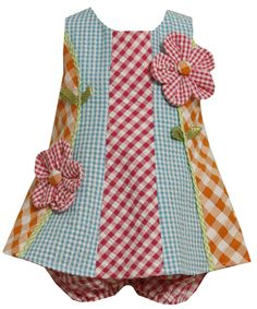 Size-12M BNJ-3196M 2-Piece MULTICOLOR MULTI-CHECKERED COLORBLOCK 'Button Flower' APPLIQUE SEERSUCKER Spring Summer Girl Party Dress,M13196 Bonnie Jean BABY/INFANT