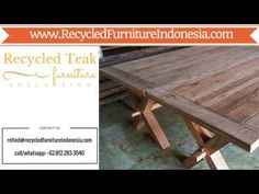 We are exporter and manufacturer of reclaimed teak table in Jepara, Indonesia. One of our product is reclaimed teak table top, reclaimed teak wood dining tab. Reclaimed Wood Furniture, Teak Furniture, Teak Wood, Teak Table, Dining Table, Picnic Table, Home Accessories, Youtube, Home Decor