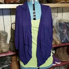 The Loft Sweaters - The Loft purple drape cardigan sweater