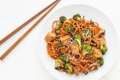 Spiralized Sesame Carrot Tofu Stir Fry Carrot Recipes, Veggie Recipes, Vegetarian Recipes, Tofu Stir Fry, Whole 30 Recipes, Quick Recipes, Kitchen Aid Recipes, Kitchen Aide, Veggie Noodles