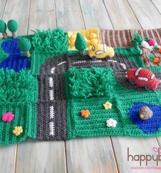 DIY Crochet road play mat CAL - free crochet patterns // Horgolt játszószőnyeg gyerekeknek (autópálya) - ingyenes horgolásminta // Mindy - craft tutorial collection // #crafts #DIY #craftTutorial #tutorial