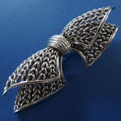 Modernist Signed Marcel Boucher Silver Bow Tie Brooch