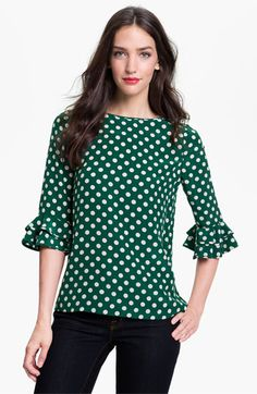 Not for pictures, just because I saw it and thought of you...could be great for the holidays, add new J.Crew necklace and wear with Navy crops or jeans or black slacks...    kate spade new york 'evi' silk blouse | Nordstrom