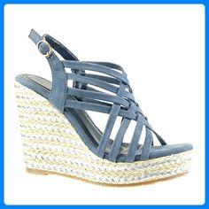 Angkorly Damen Schuhe Sandalen - Römersandalen - Sexy - Bestickt - Multi-Zaum Blockabsatz 2 cm - Grüne 2015-903 T 36 1Fxv2