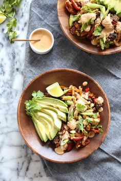 Spiralized Bell Pepper and Beef Taco Skillet with Fresh Corn, Avocado and Chipotle Cashew Cream