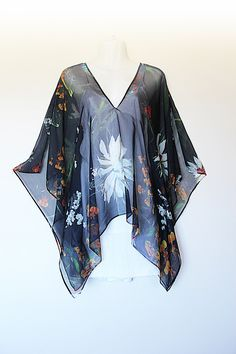 Made to Order Flowers and Birds Silk Chiffon Top by Molly Kaftans by MollyKaftans on Etsy