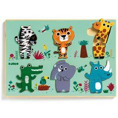 Les animaux de la jungle prennent forme et vie grâce à la patience et à la dextérité de votre enfant ! Ce très joli puzzle en bois propose un niveau supérieur à celui de l'encastrement simple puisque chaque animal se compose de 2 pièces. Voilà un puzzle original !