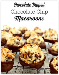 Chocolate dipped chocolate chip macaroon recipe - Perfect for Passover ...